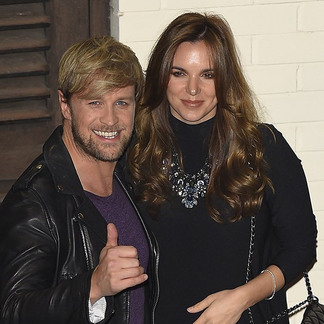 LONDON, ENGLAND - NOVEMBER 15:  Kian Egan and Jodi Albert leave the X Factor sudios in Wembley on November 15, 2014 in London, England.  (Photo by Keith Hewitt/GC Images)