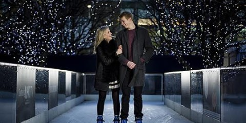 Iconic Photography of Canary Wharf Ice Rink at Canary Wharf on February 7, 2014 in London, England.