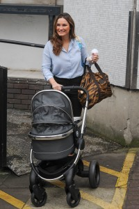 Picture Shows: Sam Faiers February 04, 2016 New mother Sam Faiers is spotted with her baby son Paul Tony outside the ITV Studios in London, England. The star of 'The Only Way Is Essex' showed off her post-baby figure in a loose-fitting, light blue blouse worn along with black trousers and a pair of high-heeled nude sandals. Non Exclusive WORLDWIDE RIGHTS Pictures by : FameFlynet UK © 2016 Tel : +44 (0)20 3551 5049 Email : info@fameflynet.uk.com