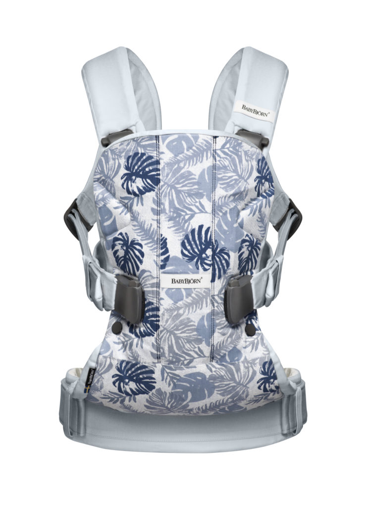 Baby Carrier One - Leaf printPale blue, Cotton Mix